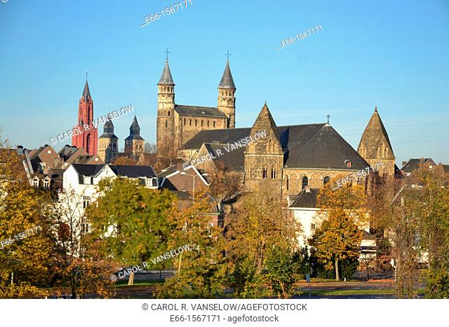Skyline of the Old City in Maastricht - the St John's Church 1200-1218, St Servatius Basilica 310-384 and Basilica of Our Lady 1000-1200  Photo is taken from...