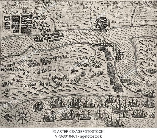 Theodor de Bry - Francis Drake's attack on St Augustine 1586