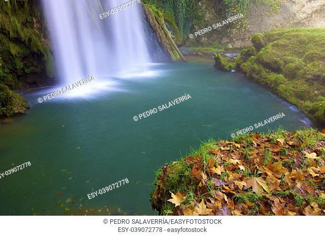 Waterfall in the Natural Park of the Monasterio de Piedra, Zaragoza, Aragon, Spain