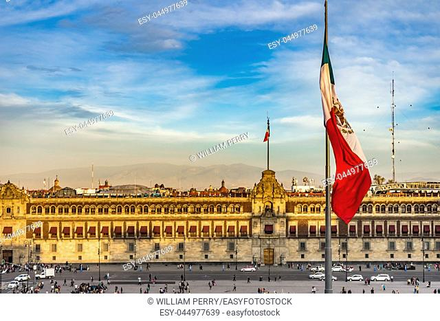 Mexican Flag Presidential National Palace Balcony Monument Zocalo Mexico City Mexico. Palace built by Cortez in 1500s. Balcony where Mexican President Appears