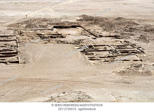 Huaca del sol , temple of the sun, adobe pyramid, Peru. The Huaca del Sol is an enormous adobe (mud brick) Moche civilization pyramid