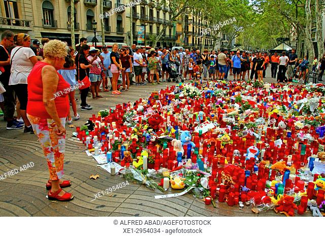 demonstration of mourning for the terrorist attack on Las Ramblas, August 2017, Barcelona, Catalonia, Spain