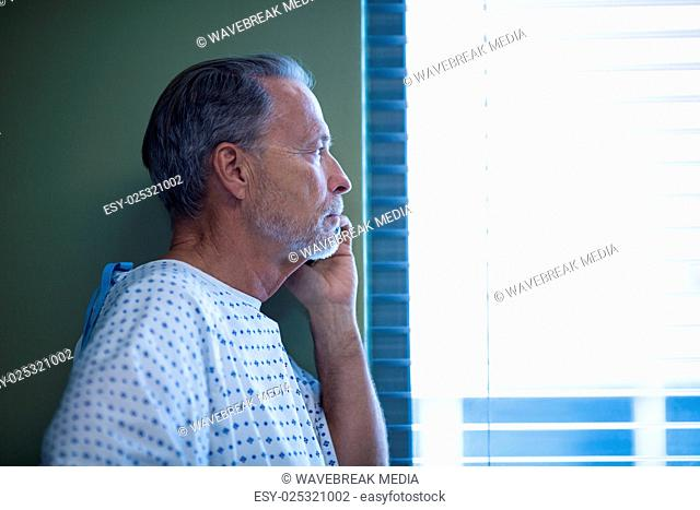Patient talking on mobile phone