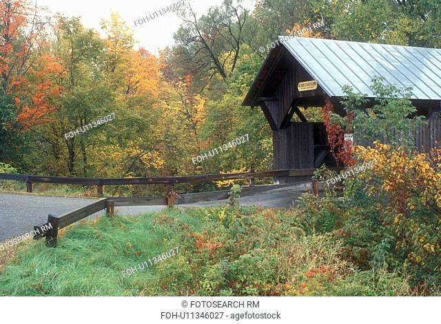 covered bridge, fall, Stowe, VT, Vermont, Emily or Stone Hollow or Gold Brook Covered Bridge surrounded by colorful fall foliage in autumn
