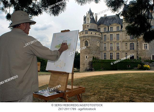 A painter in the garden of Chateau Brissac-Quince, Brissac castle, near Angers, said to be the tallest chateau in France, Maine-et-Loire, Pays de la Loire