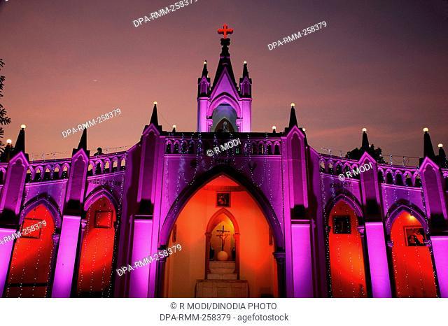 Illuminated Mount Mary church, christmas festival, bandra, mumbai, maharashtra, India, Asia