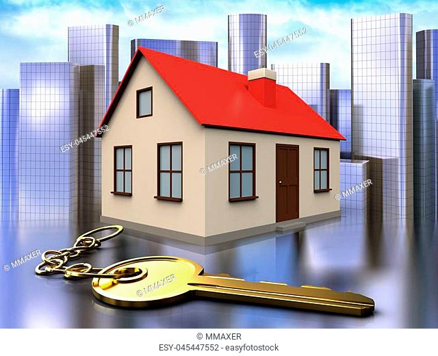 3d illustration of house with golden key over city background