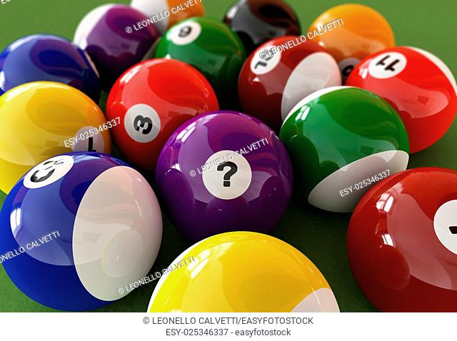 Group of billiard balls with numbers, on green carpet table, where the centered ball, has a question mark on it, instead of a number. Close up view