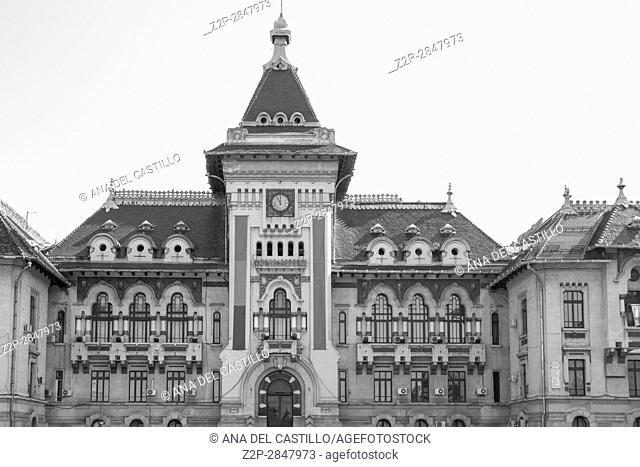 Craiova, Romania - MARCH 17, 2017: square near the Dolj County Prefecture in Craiova, the town hall Romania