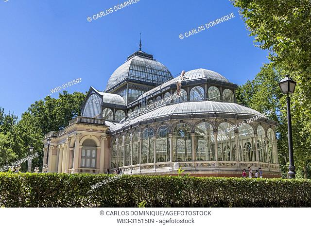 Crystal Palace in Parque del Retiro, Madrid in a sunny day