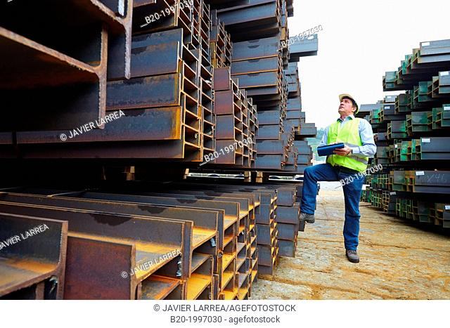 Steel Girders, Siderurgical products, Pasajes Port, Gipuzkoa, Basque Country, Spain