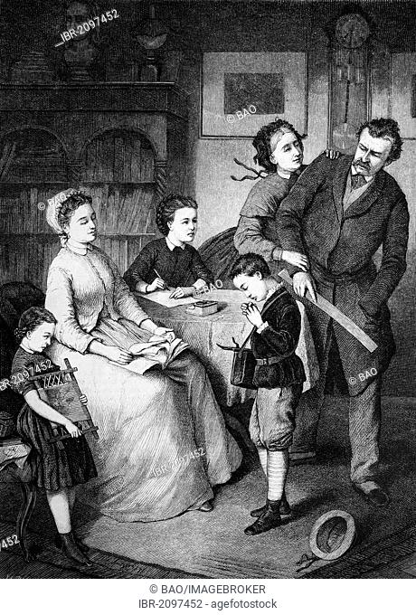 School child confessing to bad grades to his family, wood engraving, c 1880