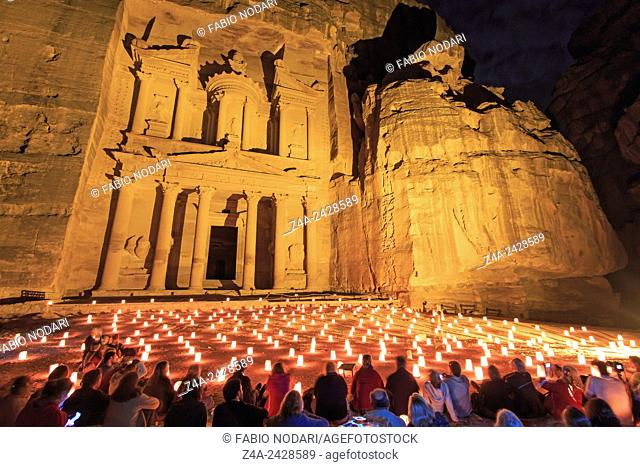 Tourists enjoying the spectacle of Petra by Night