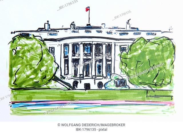 White House, residence of the President of the United States, Washington, USA, North America, drawing by Gerhard Kraus, Kriftel, Germany