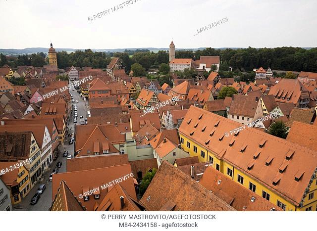 High angle view of the medieval town of Dinkelsbuhl in late summer, Germany
