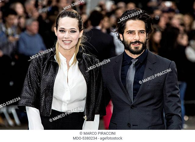 The actors Marco Bocci and Laura Chiatti attending the Armani Party. Milan, Italy. 30th April 2015