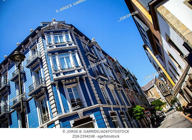 beautiful facade of ancient building in the old of the city of Aviles in Spain