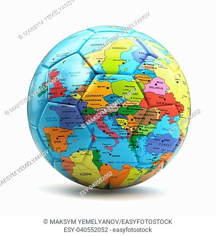 European championship concept. Soccer or football ball with map of Europe. 3d