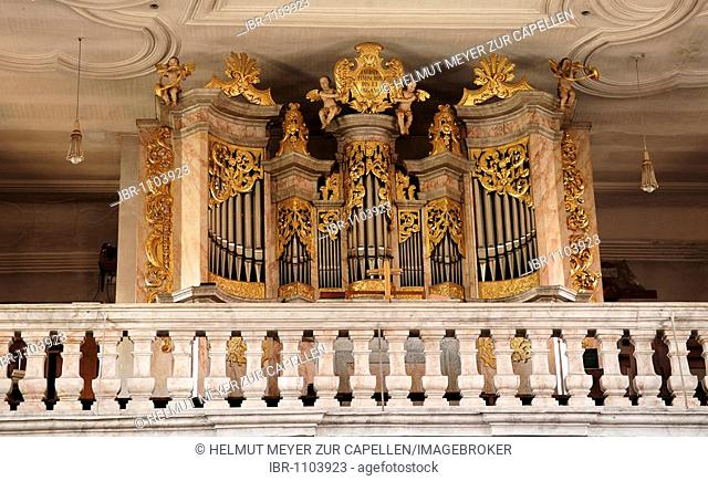 Baroque organ in a church, Lower Theres, Lower Franconia, Bavaria, Germany, Europe