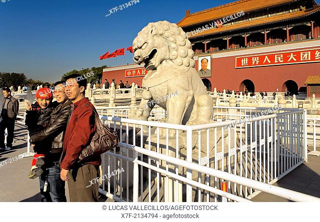 Tourists in Gate of Heavenly Peace with Portrait of Mao Ze Dong ,in Tiananmen Square,Beijing, China