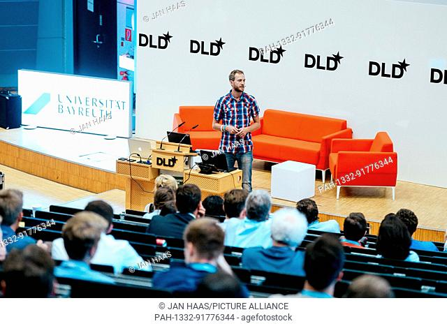 BAYREUTH/GERMANY - JUNE 21: Dominic Eskofier (Nvidia) gestures speaks on the stage during the DLD Campus event at the University of Bayreuth on June 21th