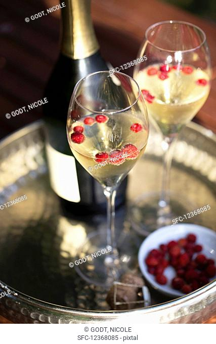Bottle and two glasses of champagne with wild strawberries on silver tray