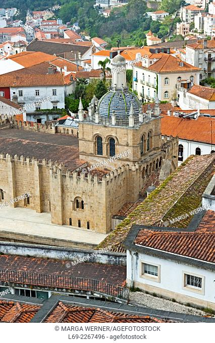 View on Coimbra with cathedral Se Velha (11th century), District Coimbra, Portugal, Europe