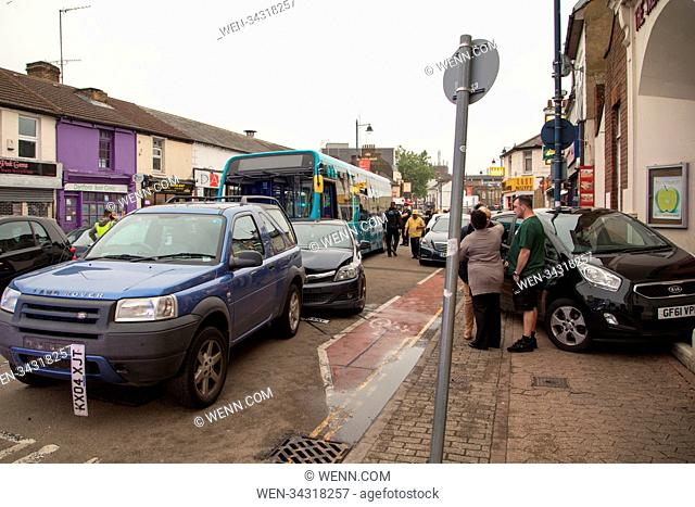 A bus driver has reportedly been taken into custody after crashing into approximately 20 cars on Hythe Street, Dartford this evening