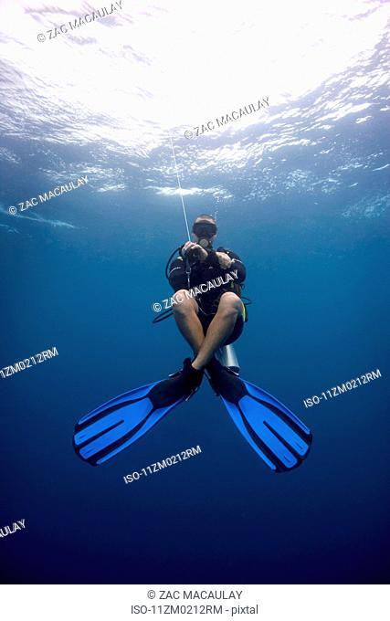 Young male diver in sea off Zanzibar