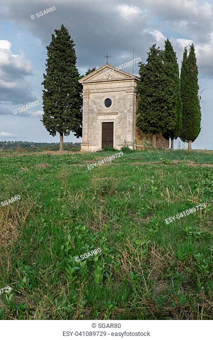 The chapel of the Vitaleta Madonna is a small sacred building is located on the top of a hill at Vitaleta on the road from San Quirico d'Orcia to Pienza