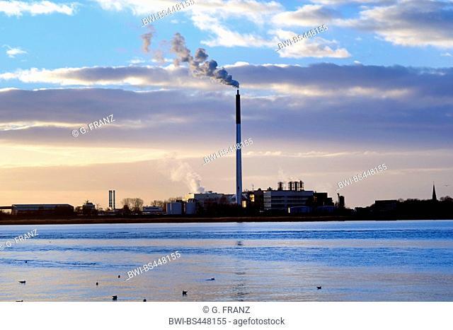 Kronos titanium mill in Blexen at sunset, Germany, Bremerhaven, Wesermarsch, Nordenham