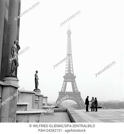 View of the Eiffel Tower from Place de Trocadero in Paris, France, in November 1970. The tower is the icon of the city and was built from 1887 to 1889