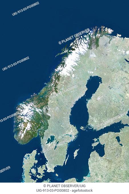 Norway, Europe, True Colour Satellite Image With Mask. Satellite view of Norway with mask. This image was compiled from data acquired by LANDSAT 5 & 7...