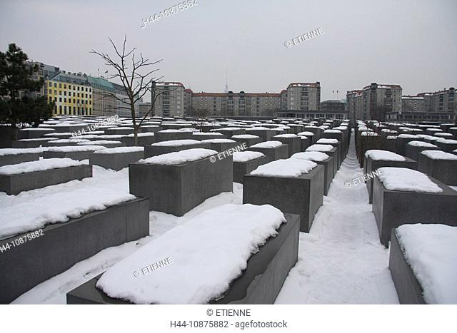 Germany, winter, Berlin, snow, Holocaust, memorial, monument, history, story, stone blocks, genocide, world war, concrete, Judaism