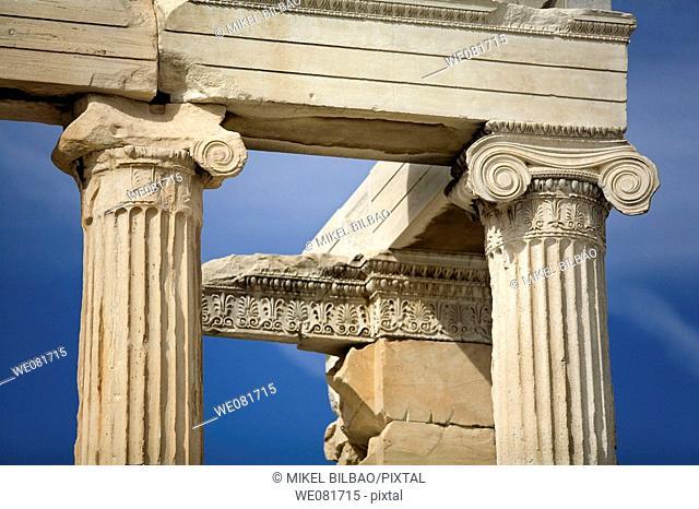 Jonic columns in the Erechtheion, Acropolis, Athens, Greece