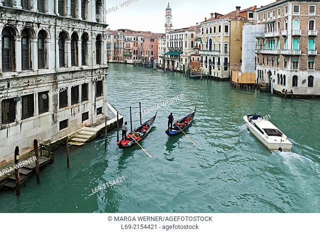 Canal Grande with Gondolas and water taxi, Venice, Veneto, Italy
