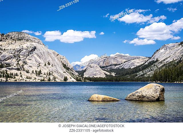 Tenaya Lake. View of granite domes looking eastward. Yosemite National Park, California, United States