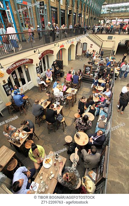UK, England, London, Covent Garden Market, people, crowd, restaurant,