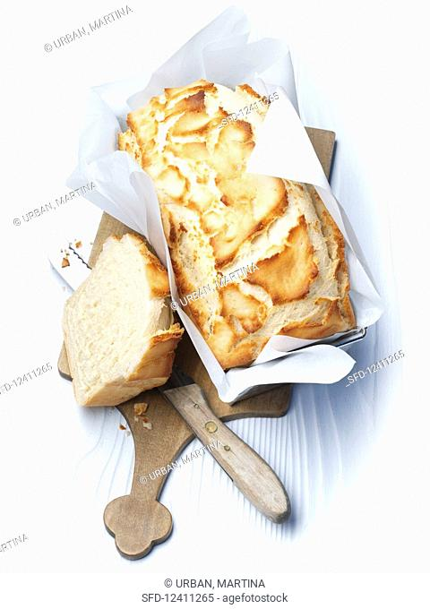 Tiger bread in a baking tin