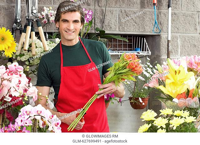 Man working in a flower shop