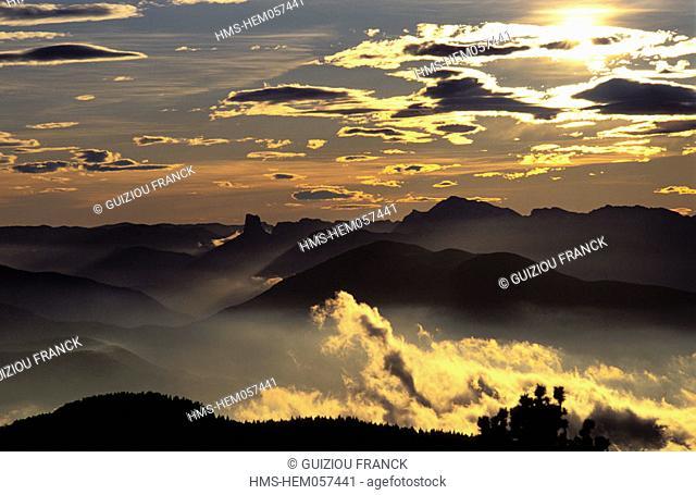 France, Isere (38), Vercors massif, sunset