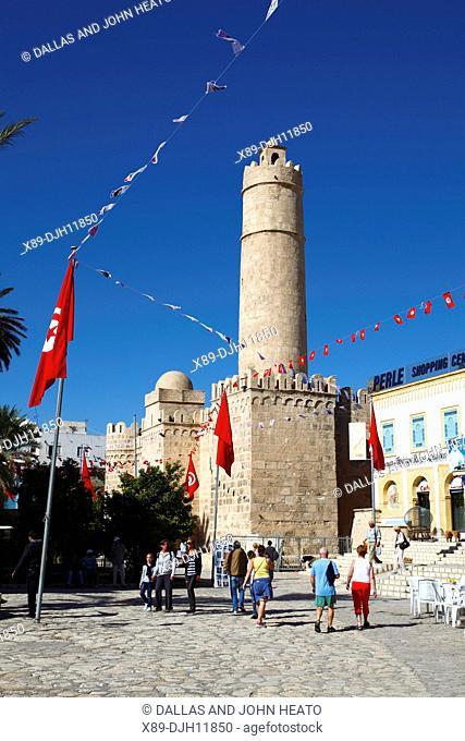 Africa, Tunisia, Sousse, Medina, Place de la Grande Mosque, Ribat, Monastic Fortress Tower