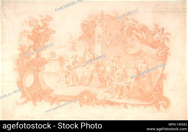 Game of Backgammon. Artist: Johann Esaias Nilson (German, Augsburg 1721-1788 Augsburg); Date: 1741-88; Medium: Red chalk; Dimensions: 7 7/16 x 11 5/8 in