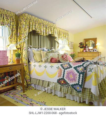 BEDROOM - Yellow walls, floral fabric valances, floor cloth, fabric valance over headboard, pillows, quilts , painted floor cloth