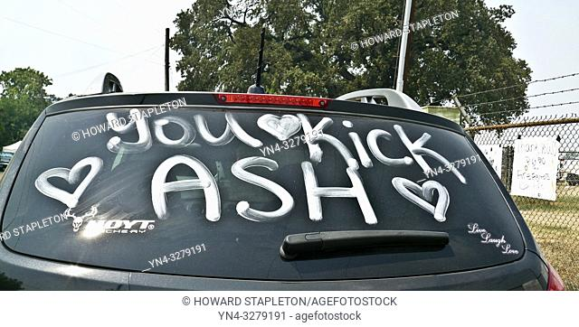 Message to firefighters on a car parked near a staging area for the Carr Fire in northern California: ''You Kick Ash''