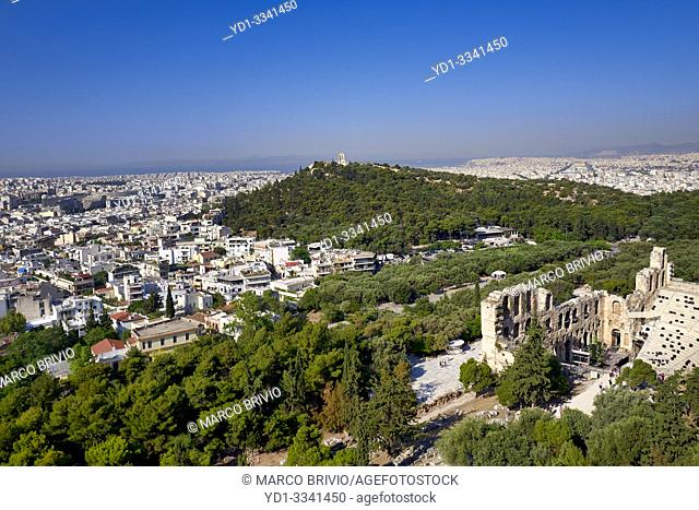 Athens Greece. From the Acropolis view over the city and the Odeon of Herod the Atticus theatre (Herodeon)