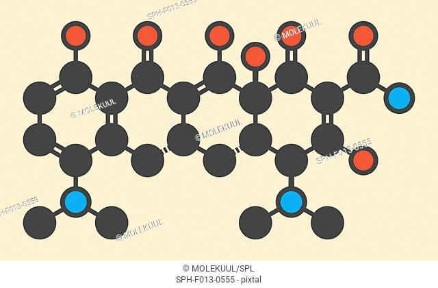 Minocycline antibiotic drug (tetracycline class) molecule. Stylized skeletal formula (chemical structure). Atoms are shown as color-coded circles: hydrogen...
