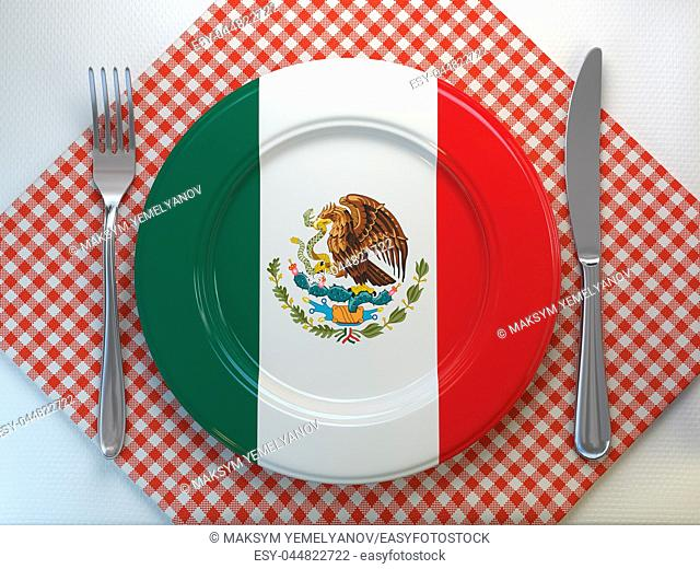 Mexican cuisine or mexican restaurant concept. Plate with flag of Mexico with knife and fork. 3d illustration