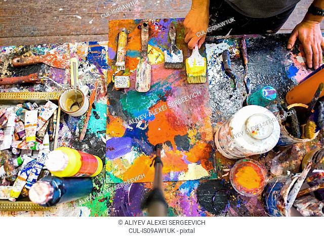 Artist in his studio