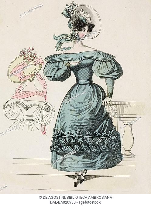 Woman wearing a green dress with puffed sleeves and matching bonnet with light-coloured lining and tied in the front, and a woman wearing a light-coloured dress...